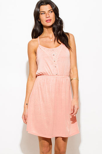 $15 - Cute cheap lace ruched bodycon dress - peach pink spaghetti strap lace contrast racer back boho mini sun dress