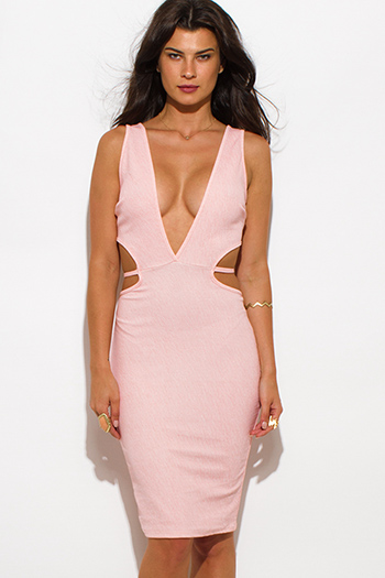 $20 - Cute cheap find pink - peach pink striped textured low v neck sleeveless cut out bodycon sexy clubbing midi dress