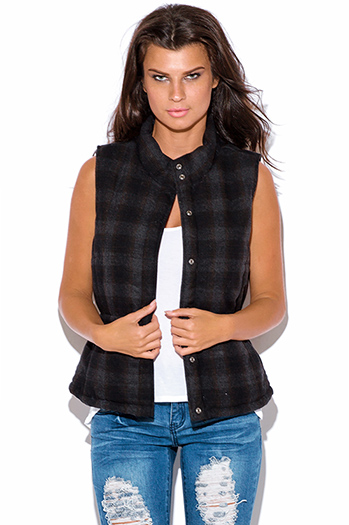 $15 - Cute cheap red quilted faux fur lined front zip banded hooded zipper pocketed crop puffer vest top - wool blend dark gray plaid puffer vest jacket top