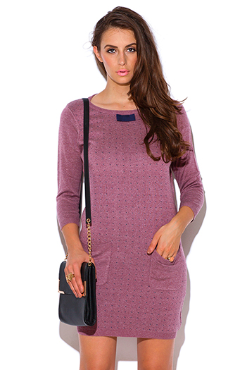 $20 - Cute cheap pocketed dress - heather pink knit bow tie pocketed retro ribbed preppy sweater dress