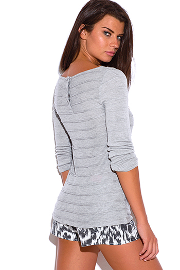 $15 - Cute cheap ribbed pocketed top - light gray ribbed button back long sleeve sweater top