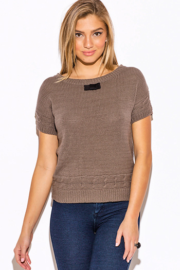 $15 - Cute cheap dolman sleeve sweater - mocha cable knit bow tie applique short sleeve preppy sweater top