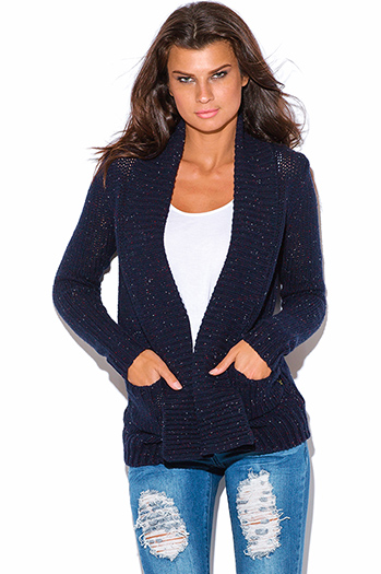 $25 - Cute cheap ribbed slit top - navy blue speckled chunky cable knit ribbed sweater cardigan top