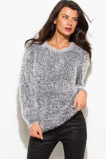 $20 - Cute cheap black high low top - peppered black cotton blend fuzzy textured boho sweater knit top