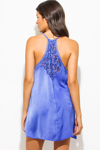 $20 - Cute cheap blue sexy party romper - periwinkle blue crinkle satin v neck crochet lace cut out double spaghetti strap racer back cocktail party shift slip mini dress