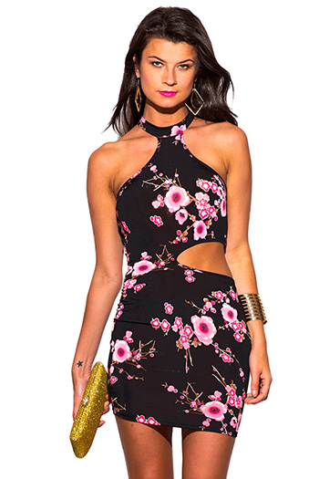 $10 - Cute cheap light pink sheer lace high neck backless mini dress - hot pink black floral print mock high neck cut out bodycon fitted sexy clubbing mini dress
