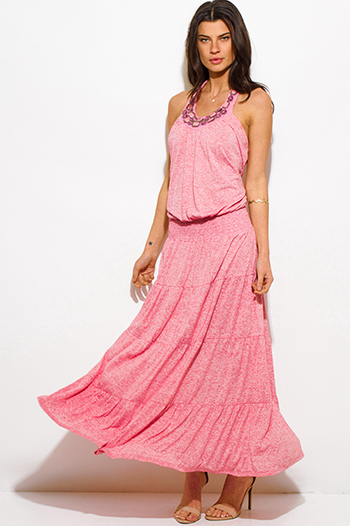 $30 - Cute cheap bejeweled open back evening maxi dress - pink bejeweled halter tiered drop waist summer boho maxi sun dress