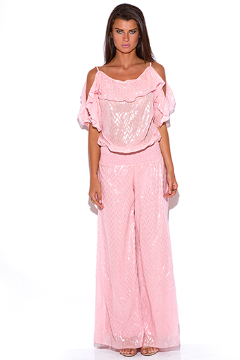 $20.00 - Cute cheap pink chiffon crochet jumpsuit - pink ruffle chiffon cold shoulder evening sexy party wide leg jumpsuit