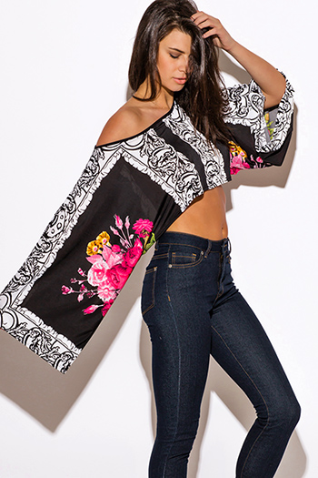 $10 - Cute cheap off shoulder top - pink floral print black kimono sleeve off shoulder crop boho scarf top