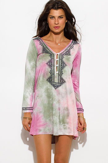 $15 - Cute cheap double buckle fashion waisted belt forest green 71452.html - pink green tie dye embroidered tunic top boho mini dress