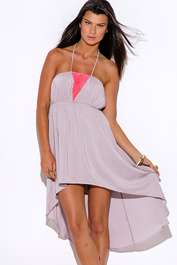 $10 - Cute cheap cheap dresses - pink lace trim gray halter high low summer sun dress