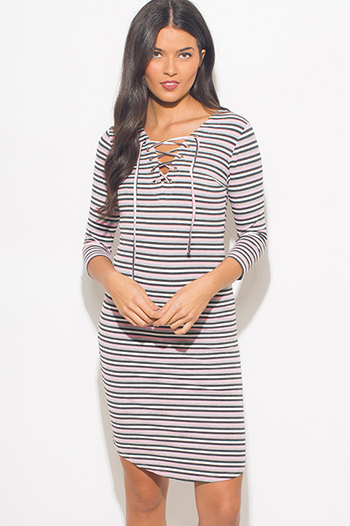$10 - Cute cheap pocketed fitted tunic dress - pink multicolor striped ribbed knit quarter sleeve laceup bodycon fitted midi dress