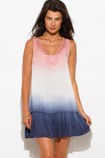 $15 - Cute cheap print chiffon mini dress - pink navy blue chiffon ombre print crochet trim ruffle hem sleeveless boho mini sun dress