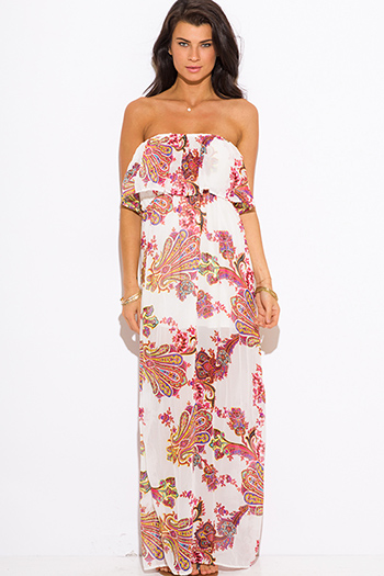 $20 - Cute cheap summer dress - pink paisley print ruffle boho strapless maxi sun dress