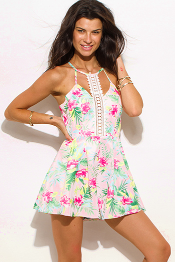 $15 - Cute cheap clothes - pink tropical floral print cut out crochet trim racer open back fitted sexy party romper jumpsuit