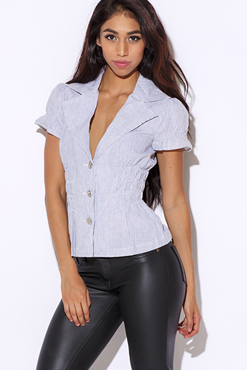 $10 - Cute cheap stripe top - pinstripe bubble sleeve blouse top