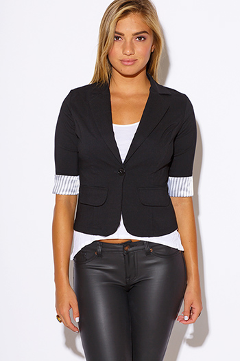 $10 - Cute cheap cute juniors fitted career blazer jacket 55345 - pinstripe cuff quarter sleeve black fitted blazer jacket top