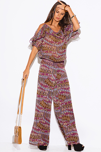$30 - Cute cheap jumpsuit for women - plum multi color ethnic print ruffle chiffon cold shoulder boho wide leg jumpsuit