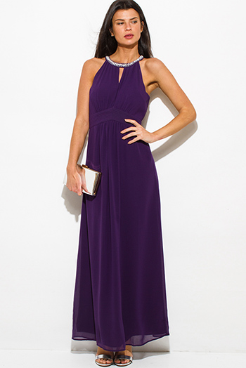 $30 - Cute cheap chiffon evening maxi dress - plum purple chiffon halter sleeveless pearl embellished cut out evening sexy party maxi dress