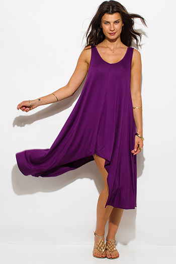 $15 - Cute cheap print high neck dress - Plum purple jersey scoop neck high low asymmetrical hem mini sun dress