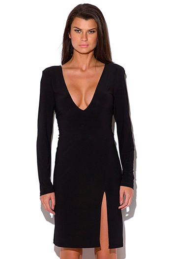 $12 - Cute cheap black leather sexy club dress - plus size black deep v neck backless side slit long sleeve bodycon fitted cocktail party club midi dress