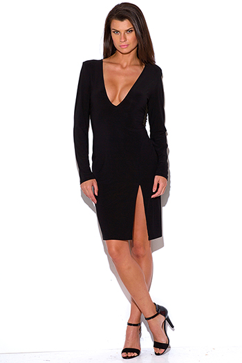 $7 - Cute cheap black faux leather deep v neck long sleeve button up bodycon fitted sexy clubbing mini dress - plus size black deep v neck backless side slit long sleeve bodycon fitted cocktail party club midi dress