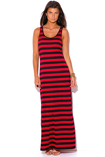 $15 - Cute cheap plus size black white chevron print maxi dress 86167 size 1xl 2xl 3xl 4xl onesize - plus size black red stripe racer back maxi sun dress