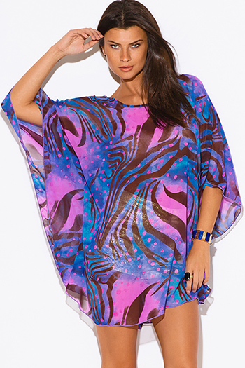 $15 - Cute cheap print chiffon boho dress - plus size blue abstract animal print semi sheer chiffon boho tunic top mini dress