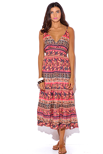 $15 - Cute cheap plus size size 1xl 2xl 3xl 4xl onesize - plus size coral pink ethnic floral print babydoll boho ankle maxi sun dress