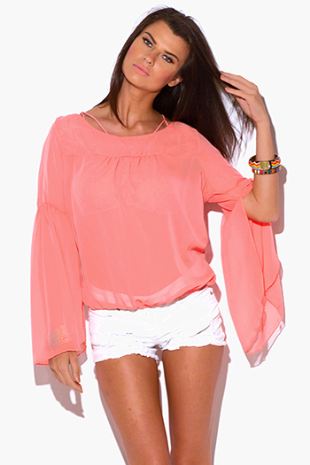 $7 - Cute cheap plus size smocked off shoulder yellow top size 1xl 2xl 3xl 4xl onesize - plus size coral pink sheer chiffon bell sleeve boho top