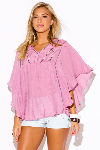 $15 - Cute cheap cheap clothes embroidered kimono sleeve boho tunic top - plus size dusty pink embroidered butterfly sleeve boho peasant tunic top