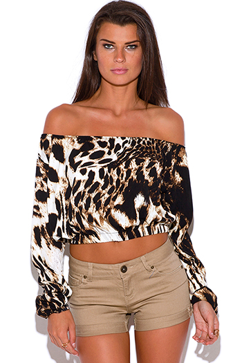 $8 - Cute cheap print off shoulder top - plus size leopard animal print long sleeve off shoulder crop boho peasant top