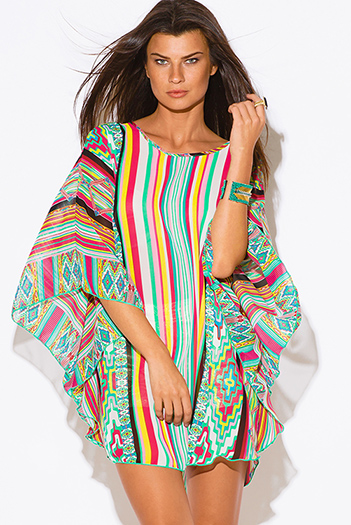 $15 - Cute cheap color coral dress - plus size multi color stripe ethnic print semi sheer chiffon boho tunic top mini dress