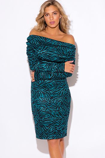 $20 - Cute cheap plus size size 1xl 2xl 3xl 4xl onesize - plus size teal blue zebra animal print off shoulder sweater dress