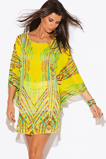 $15 - Cute cheap sheer boho kimono dress - plus size yellow abstract ethnic print semi sheer chiffon boho tunic top mini dress