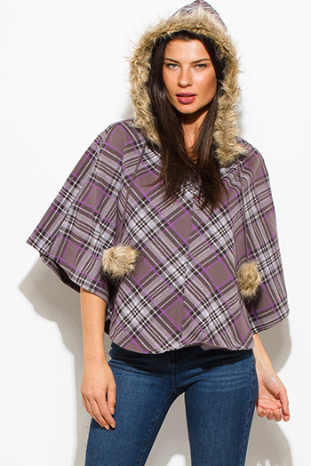 $10 - Cute cheap ivory white cream faux fur textured hooded pocketed zip up vest top - purple brown plaid print fleece lined faux fur hooded cape poncho top