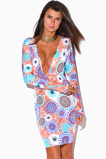 $10 - Cute cheap cute juniors dolman sleeve color block ruched sexy clubbing dress - multi color ethnic print deep v neck dolman long sleeve backless fitted party midi dress