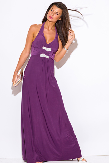 $10 - Cute cheap purple maxi dress - purple v neck bejeweled ruched empire waist halter formal evening sexy party maxi dress