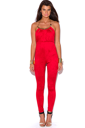 $25 - Cute cheap red yellow abstract print strapless sexy party jumpsuit 79510 - lipstick red bejeweled cut out fitted bodycon evening party catsuit jumpsuit