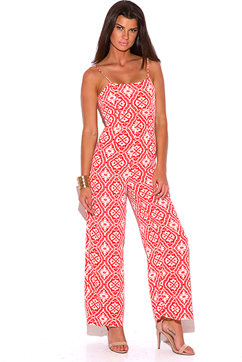 $25 - Cute cheap red yellow abstract print strapless sexy party jumpsuit 79510 - orange red baroque print wide leg resort boho jumpsuit