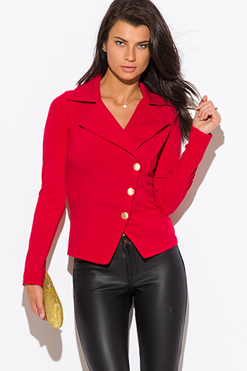 $20 - Cute cheap sheer asymmetrical jacket - red asymmetrical golden button fitted blazer jacket