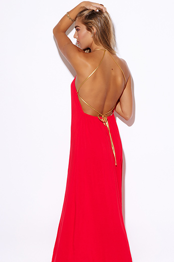 $25 - Cute cheap maxi dress - red backless golden leatherette strappy boho evening sexy party maxi dress