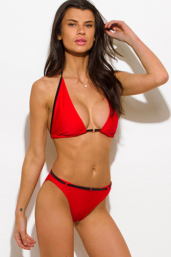$10 - Cute cheap black mesh caged panel halter neck sexy party swimsuit set - red belted halter traingle bikini swimsuit set