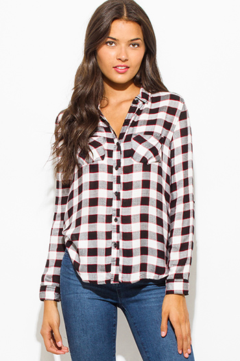 $10 - Cute cheap wine burgundy red checker grid print button up long sleeve boho blouse top - red black checker plaid flannel long sleeve button up top