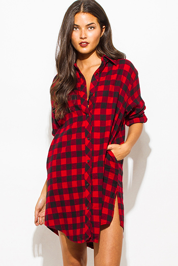 $20 - Cute cheap red cotton top - red cotton button up long sleeve checker plaid flannel tunic blouse top mini dress