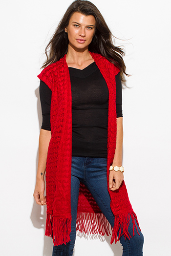 $15 - Cute cheap crochet back red knit sleeveless sweater - red chevron crochet knit fringe trim sleeveless open front duster cardigan top