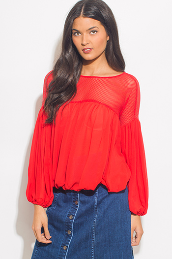 $15 - Cute cheap black sheer mesh deep v neck crochet lace trim drawstring hem blouson long sleeve crop blouse top - red chiffon long blouson sleeve crochet mesh panel boho blouse top