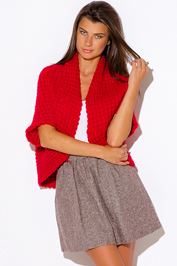 $15 - Cute cheap coral eiffel tower print sweater knit crop top 100043 - red chunky knit dolman sleeve sweater shrug top