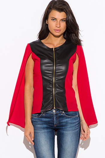 $10 - Cute cheap color block fringe poncho - red color block faux leather panel zip up cape blazer jacket