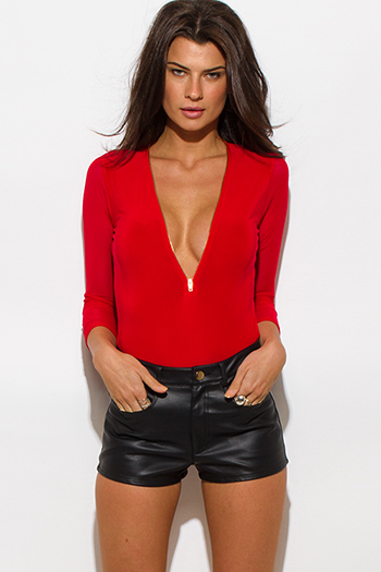 $15 - Cute cheap red sexy club top - red contrast sheer mesh quarter sleeve zip up bodycon clubbing bodysuit top
